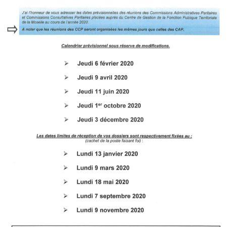 Calendrier prévisionnel CAP-CCP 2020